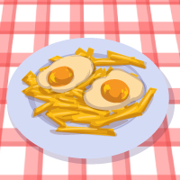 French fries with fried egg