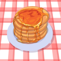 American pancakes with honey