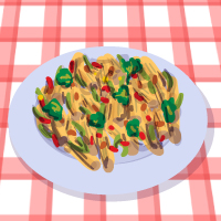 Hot penne pasta salad with vegetables