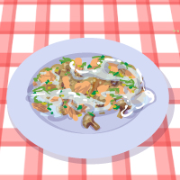 Fish with mushrooms and yogurt sauce